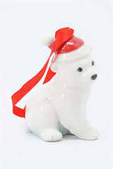 Franz Porcelain Holiday Greetings Polar Bear Ornament, MPN: FZ02248