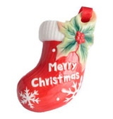 Franz Porcelain Holiday Greetings Stocking With Christmas Writing Ornament, MPN: FZ02775