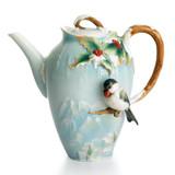 Franz Porcelain Holiday Beginnings Chickadee Teapot, MPN: FZ01495