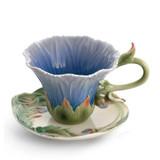 Franz Porcelain Cozies Chrysanthemum Flower Cup Saucer Spoon Set, MPN: FZ01507