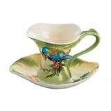 Franz Porcelain Amazon Rain Forest Parrot Cup Saucer Spoon Set, MPN: FZ00832