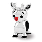 Red Enamel Rudolph Bead - Sterling Silver QRS3456
