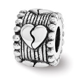 Broken Heart Spacer Bead - Sterling Silver QRS3542