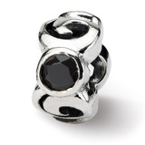 Black Synthetic Diamond Bead - Sterling Silver QRS402