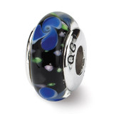 Blue Hand-blown Glass Bead - Sterling Silver QRS678