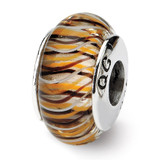 Brown Hand-blown Glass Bead - Sterling Silver QRS702
