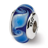 Blue Hand-blown Glass Bead - Sterling Silver QRS915