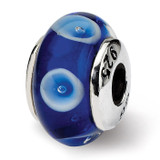 Blue Hand-blown Glass Bead - Sterling Silver QRS930