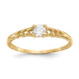 Madi K 3mm White Topaz Birthstone Baby Ring - 14k Gold GK127