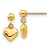 Madi K Puffed Heart Dangle Earrings - 14k Gold GK511