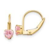 Madi K Leverback 4mm Pink Synthetic Diamond Earrings - 14k Gold GK583