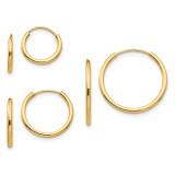 Madi K Polished 3-Pair Set - Endless Hoop Earrings - 14k Gold SE1293
