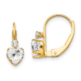 Madi K Synthetic Diamond Heart Leverback Earrings - 14k Gold SE2150