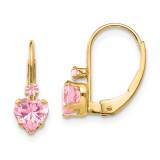 Madi K Clear Pink Synthetic Diamond Heart Leverback Earrings - 14k Gold SE2151