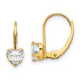 Madi K Synthetic Diamond Heart Leverback Earrings - 14k Gold SE2154