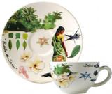 Gien Route Des Indes Tea Cups & Saucers, MPN: 17482PTH01, UPC/EAN: 840769084725