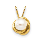 Madi K 4mm Fresh Water Cultured Pearl Love Knot Pendant - 14k Gold SE2219
