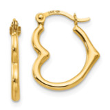 Madi K Heart Shaped Hollow Hoop Earrings - 14k Gold SE2413