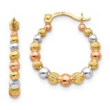 Madi K Tri-color Beaded Hoop Earrings - 14k Gold SE2428