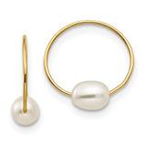 Madi K Endless Hoop with Fresh Water Cultured Pearl Earrings - 14k Gold SE357
