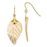 Madi K Mother of Pearl Leaf Dangle Earrings - 14k Gold SE620