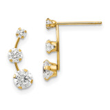 Madi K Curved 3-Stone Synthetic Diamond Post Earrings - 14k Gold SE765