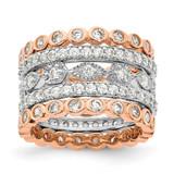 Cheryl M 3 2 Rose Gold-Plated CZ Diamond 5 Ring Set Sterling Silver Rhodium-plated MPN: QCM1494-5 UPC: