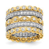 Cheryl M 2 3 Gold-Plated CZ Diamond 5 Piece Ring Set Sterling Silver Rhodium-plated MPN: QCM1495-5 UPC: