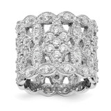 Cheryl M Rhodium-Plated Fancy CZ Diamond Multi-Stone Ring Sterling Silver MPN: QCM1498-5 UPC: