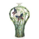 Franz Porcelain Bamboo And Butterflies Design Sculptured Vase Limited Edition, MPN: FZ03922