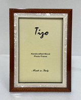 Tizo Luxury Wood & Mother of Pearl Inlay Photo Picture Frame Brown 5 x 7 Inch, MPN: ST20BRN-57