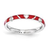 Red Enamel Heart Ring - Sterling Silver QSK1519 UPC: 886774206585