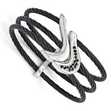 Edward Mirell Black Titanium & Sterling Silver Spinel Cable Flexible Cuff Bangle EMB126-6