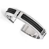 Edward Mirell Titanium & Stainless Steel Cable Polished Flexible Cuff Bangle EMB133