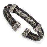 Edward Mirell Titanium Black Memory & Brushed Cable Cuff Bangle EMB165