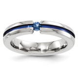 Edward Mirell Titanium Sapphire&Blue Anodized Grooved 4mm Band EMR157