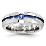 Edward Mirell Titanium Sapphire & Blue Anodized 6mm Band EMR162