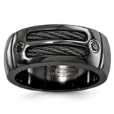 Edward Mirell Black Titanium Cable & Spinel Sterling Silver Bezel 9.5mm Band EMR222