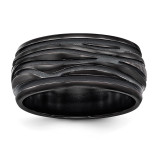 Edward Mirell Black Titanium Polished Grooved Wave Ring EMR301