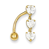 5Mm Heart Belly Dangle 10k Gold 10BD112