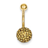 Champagne Crystal Ball Belly Dangle 10k Gold 10BD123