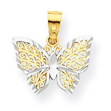 Butterfly Charm 10K Gold & Rhodium 10C1001