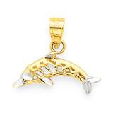 Dolphin Charm 10K Gold & Rhodium 10C1022