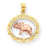 Elephant Charm 10k Two-Tone Gold 10C1026