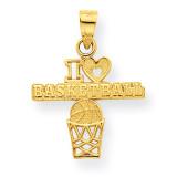 I Love Basketball Charm 10k Gold 10C1032