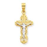 Crucifix Pendant 10K Gold & Rhodium 10C1055
