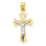 Filigree Crucifix Pendant 10K Gold & Rhodium 10C1071