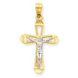 Crucifix Pendant 10K Gold & Rhodium 10C1075