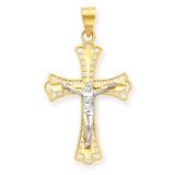 Diamond-Cut Crucifix Pendant 10K Gold & Rhodium 10C1078