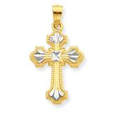 Diamond-Cut Cross Pendant 10K Gold & Rhodium 10C1122